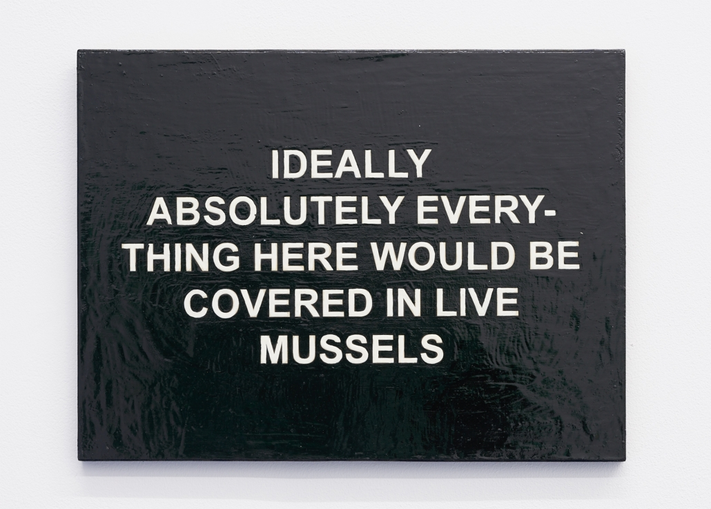 Laure Prouvost, IDEALLY ABSOLUTELY EVERYTHING HERE WOULD BE COVERED IN LIVE MUSSELS, 2011, oil, collage and oil, collage and varnish on board, 30 x 40 x 2 cm, Courtesy: the artist and carlier | gebauer, Berlin/Madrid.